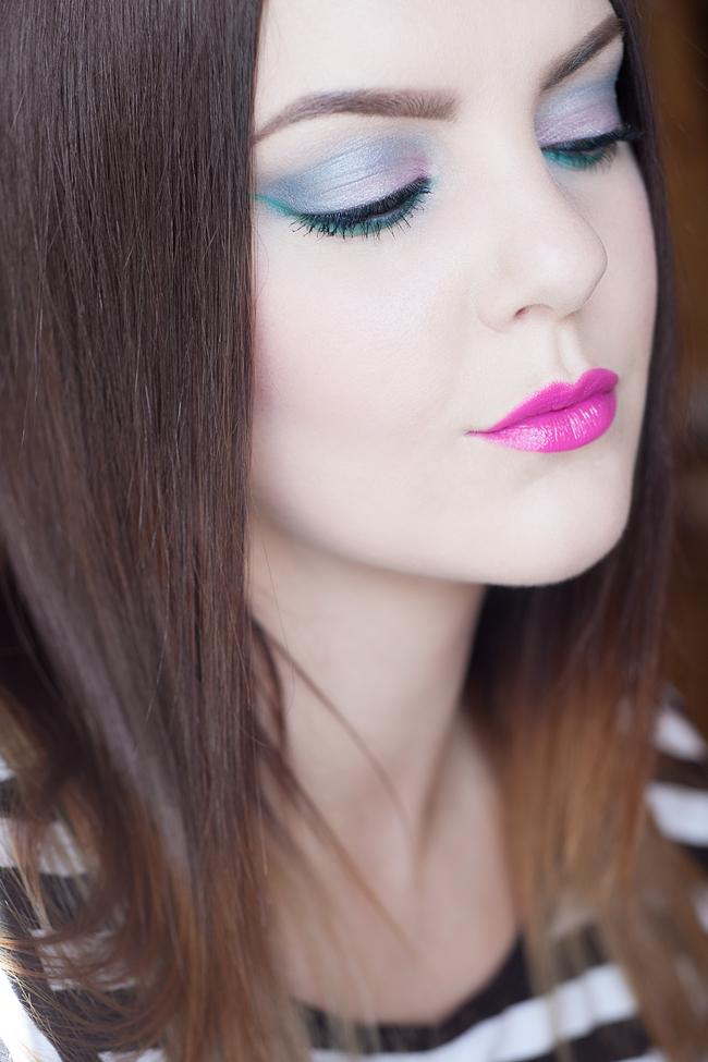 molkan skönhetsblogg pink blue teal sminkning