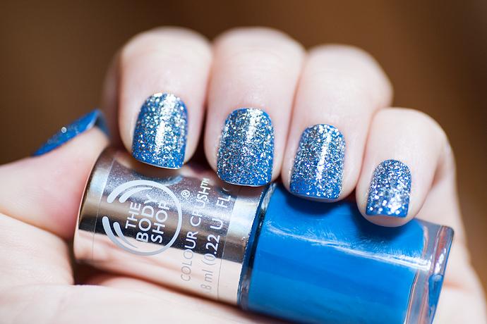 notd glittery blue the body shop bellapierre cosmetics glitter
