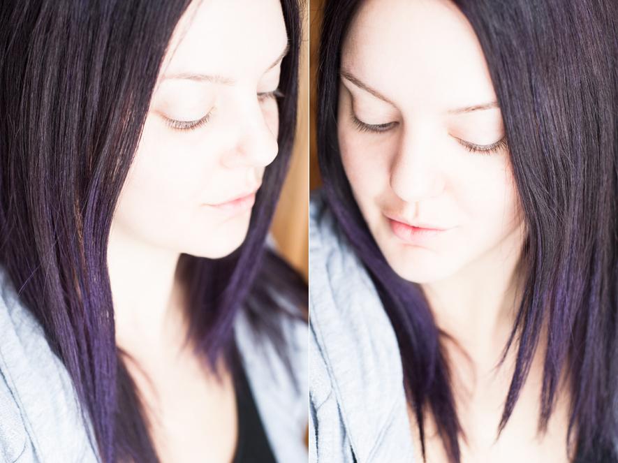 färga hår brunt lila underhåll