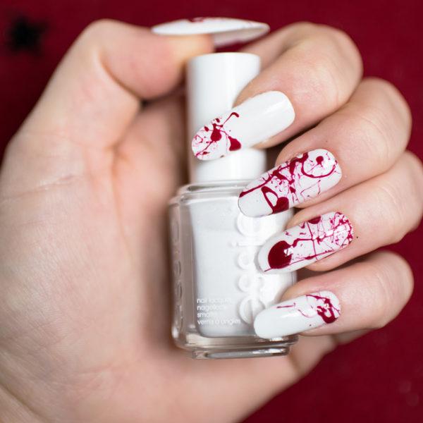 blood splatter nails happy halloween notd