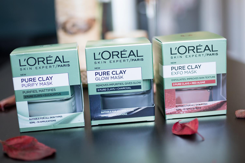 l'oréal paris pure clay face masks exfo glow pure