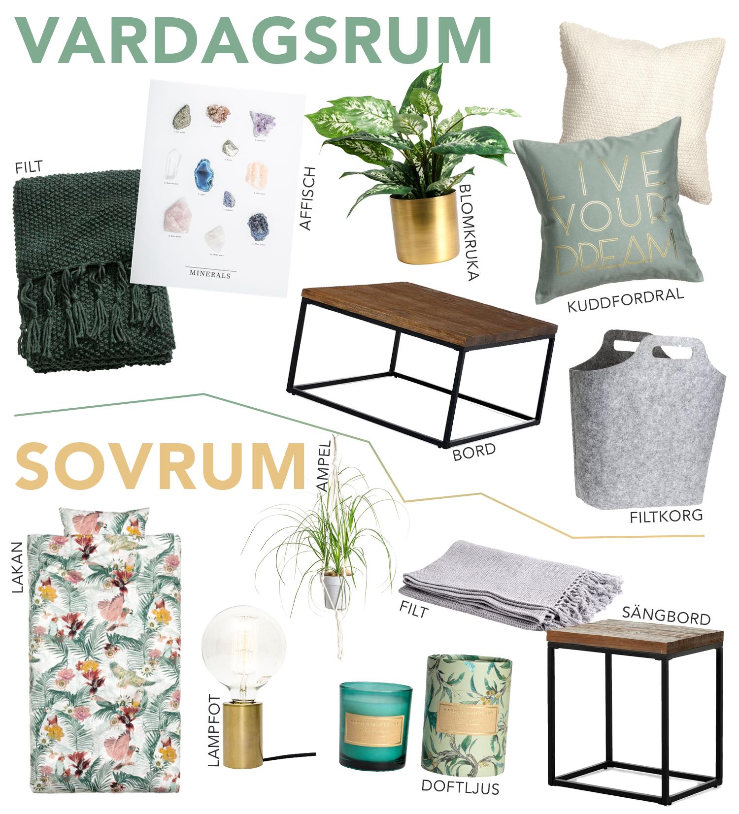 inredning vardagsrum sovrum grönt guld