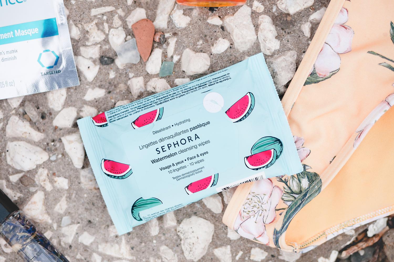 hudvårdshjältar på semestern vacation heroes sephora cleansing wipes watermelon