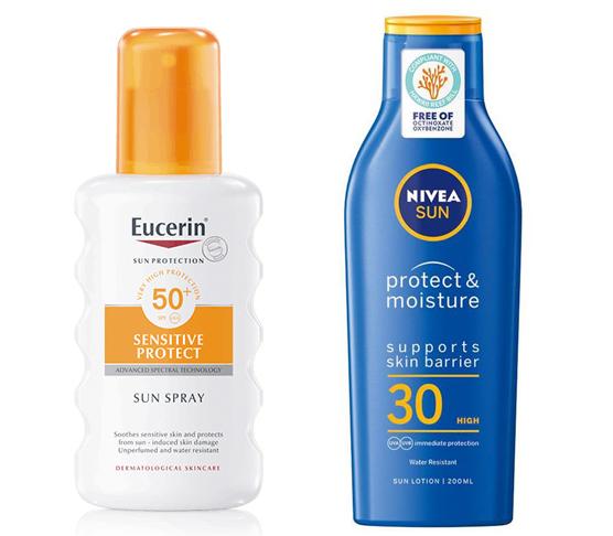 eucerin sensitive spray nivea protect & moisture